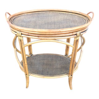 Chinoiserie Rattan Wicker Tray Occasional Table For Sale