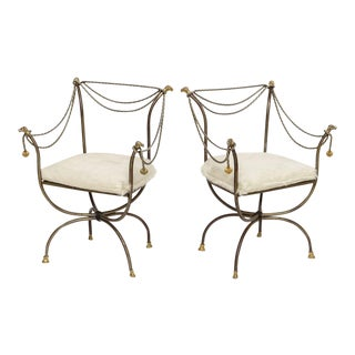 Steel and Brass Campaign Chairs-A Pair For Sale