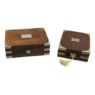 Campaign Style Brass-Bound Rosewood Boxes - a Pair For Sale