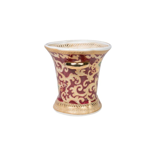 Country Red and Gold Tapestry Green Dotted Porcelain Ring Cup For Sale - Image 3 of 4
