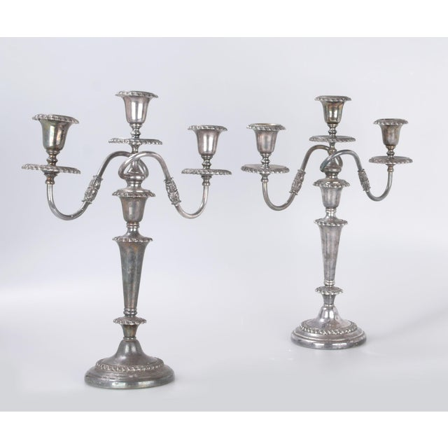 Silver Plated Three Arm Candelabra by Friedman Silver Co. a - Pair For Sale - Image 10 of 10