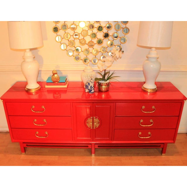 Basset Chinoiserie Red Lacquered Dresser Credenza For Sale - Image 5 of 10