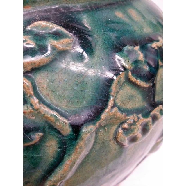 Asian Style Heavy Clay Drip Glaze Teal Planter - Image 3 of 7