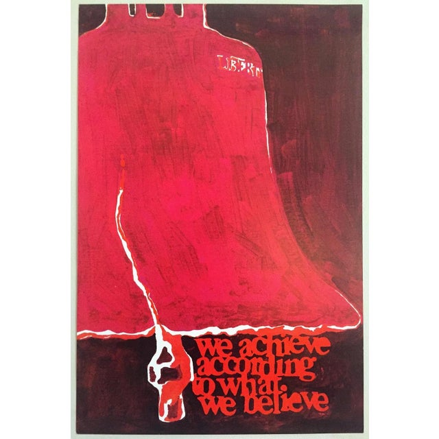 """Red Rare Vintage 1973 Mid Century Modern Lithograph Print Poster """" We Achieve According to What We Believe """" For Sale - Image 8 of 8"""