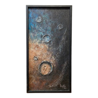 """Mid Century Modern """"Craters of the Moon"""" Original Oil Painting by Duffy C.1969 For Sale"""