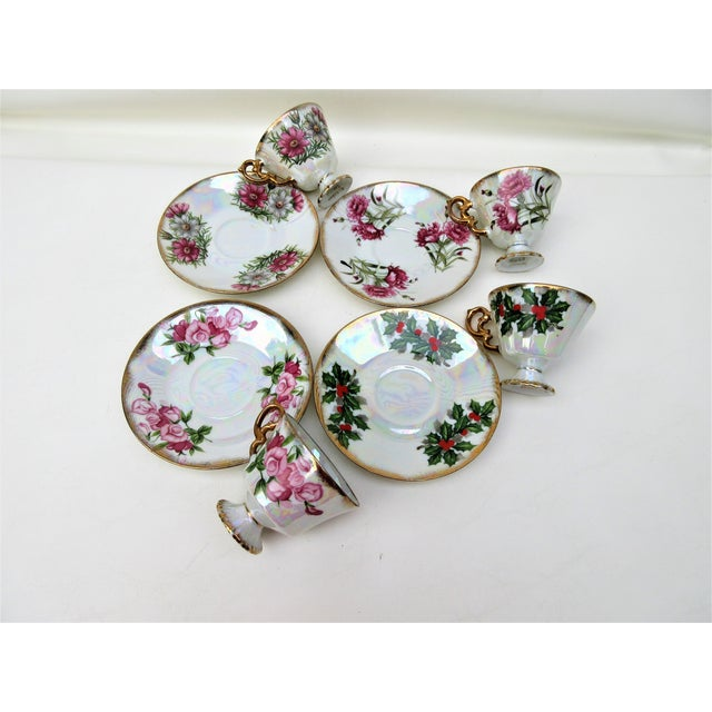 Asian 1960s Japanese Lusterware Flower of the Month Demitasse Cups and Saucers - Set of 4 For Sale - Image 3 of 12