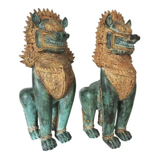 Bronze Temple Guardians/Lions - A Pair