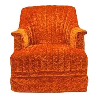 Haute Orange Crushed Velvet Channel Back Swivel Rocker Accent Lounge Chair