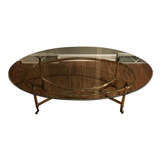 Vintage Hollywood Regency Brass and Glass Oval Coffee Table For Sale