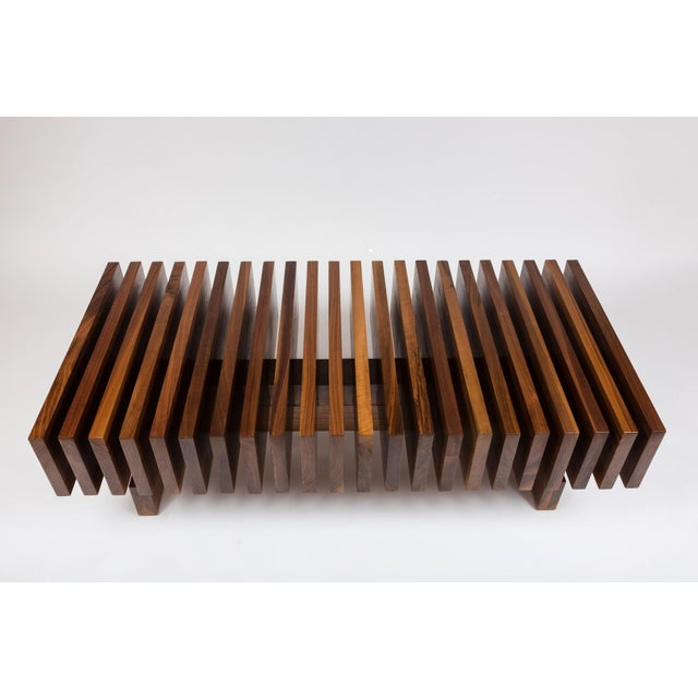 2010s Solid Walnut Modernist Coffee Table For Sale - Image 5 of 7