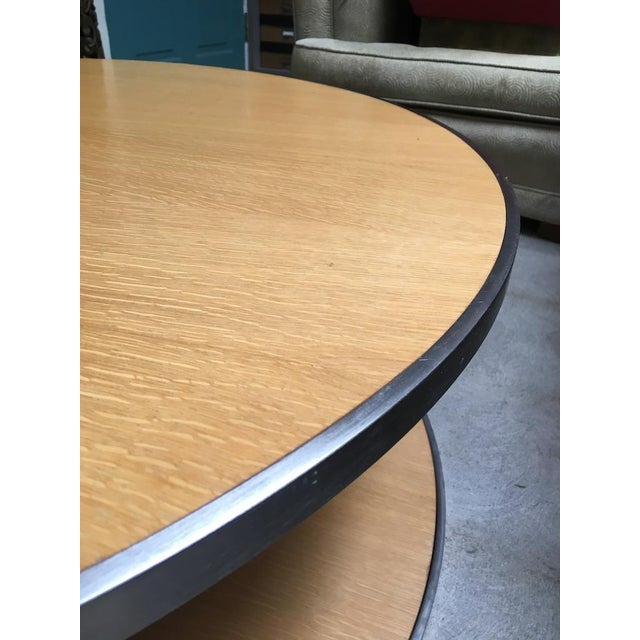 Circular Modern Stainless Steel and Oak Coffee Table For Sale In Los Angeles - Image 6 of 11