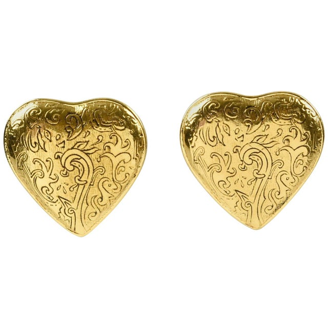 Engraving Yves Saint Laurent Paris Signed Clip on Earrings Gilt Metal Heart For Sale - Image 7 of 7