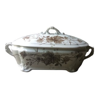 Antique Early 19th Century Brown Transfersware Ironstone Covered Serving Tureen For Sale