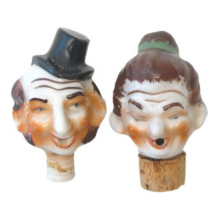 Whimsical Vintage Porcelain Bottle Stoppers / Pourers, Pair For Sale