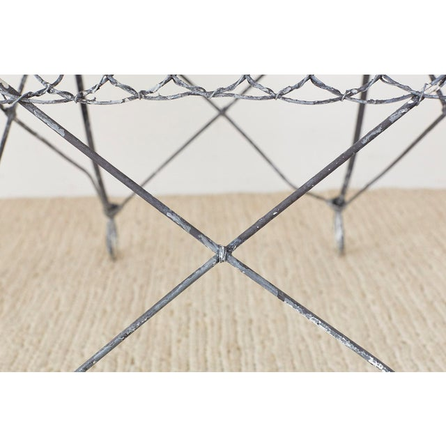 Set of Four French Iron and Wire Garden Chairs For Sale - Image 10 of 13