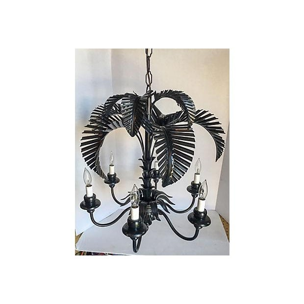 Tole Palm Tree 6-Arm Chandelier - Image 3 of 8