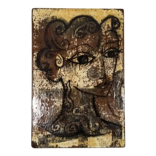 Vintage Abstract Female Portrait , Signed . For Sale