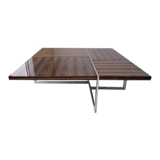 """Brueton """"James T"""" Coffee Table in Polished Stainless Steel and Macassar Ebony For Sale"""