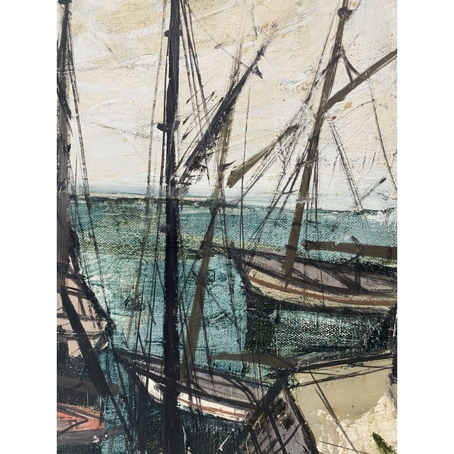 Brown Mid-Century Modern Charles Levier Painting of French Port Scene With Boats For Sale - Image 8 of 12