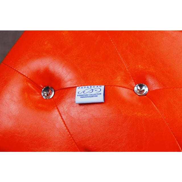 Pasargad N Y Pu Orange Leather Ottoman For Sale - Image 9 of 13