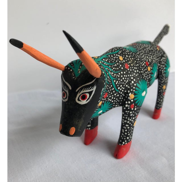Wood Late 20th Century Raphael Mendoza Mexican Folk Art Bull For Sale - Image 7 of 7