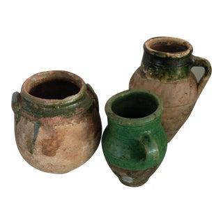 1950s Provençal Terra-Cotta Glazed Pots - Set of 3 For Sale
