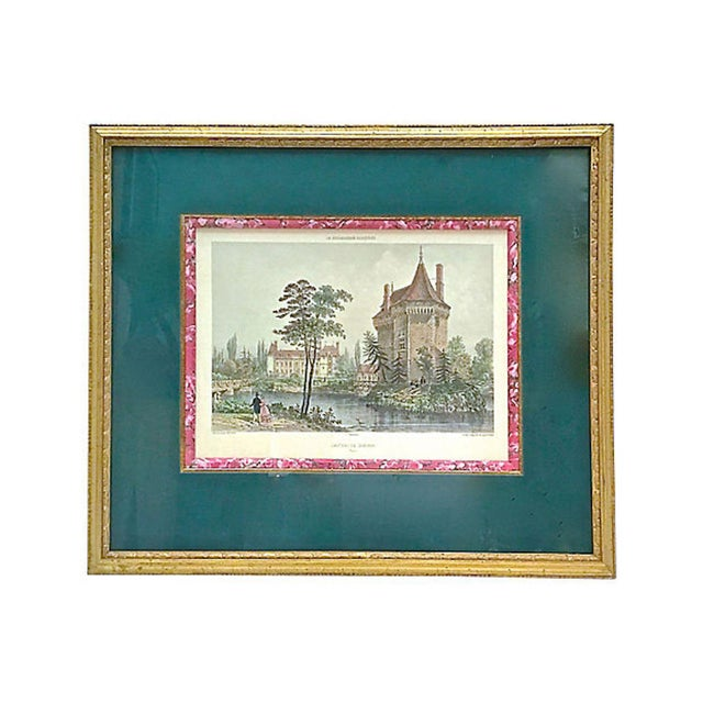 Green 19th Century Antique Normandy Chateau Engraving For Sale - Image 8 of 8
