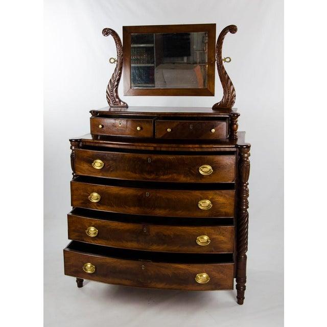 Empire 19th Century American Empire 6-Drawer Mahogany Vanity Dresser For Sale - Image 3 of 13