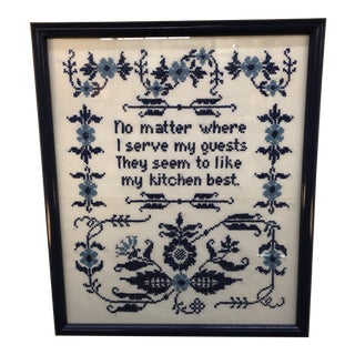 Blue and White Framed Needlepoint Textile Art For Sale