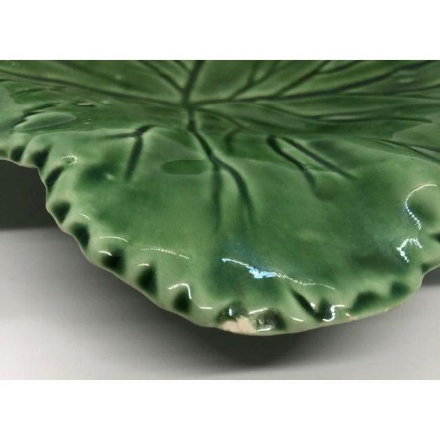 """Green Vintage Majolica """"Cabbage"""" Dark Green Leaf Salad or Serving Plate For Sale - Image 8 of 9"""