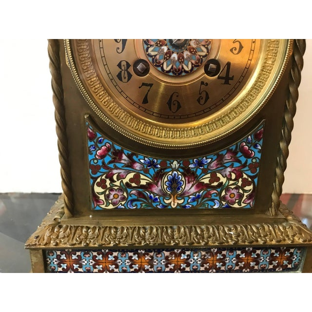 Aesthetic Movement 19th Century Antique French Champlevé Mantle Clock For Sale - Image 3 of 10