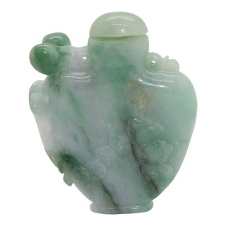Carved Chinese Green Jade Snuff Bottle With Luyi, Money and Lucky Bat For Sale