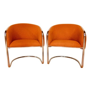 Mid Century Modern Orange Thonet Style Baughman Style Cantilevered Barrel Chairs - a Pair
