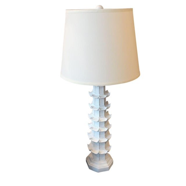 White Brighton Pagoda Table Lamp For Sale