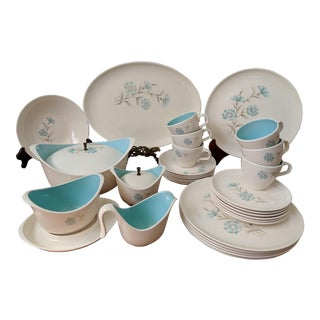 "Mid-Century Taylor Smith & Taylor Blue Floral ""Boutonniere"" Dining Set 32 Pc. Cream and Turquoise"