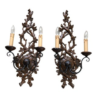 Traditional Hand Carved Wood Sconces - a Pair For Sale