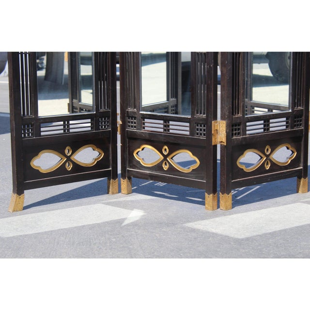 Japanese Meiji Period Mirrored Screen For Sale - Image 4 of 12