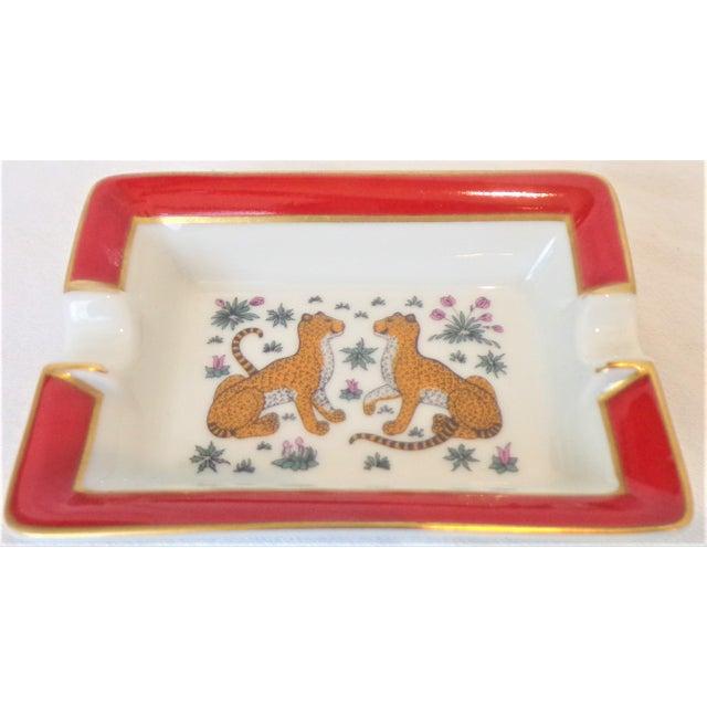 Metal Vintage Hermes Porcelain Les Leopards Ashtray / Catchall For Sale - Image 7 of 8