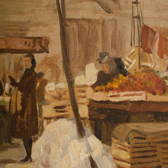 "Canvas 1940s ""Market in Milan"" Street Scene Oil Painting by Joshua Felise Ziro Brevio For Sale - Image 7 of 13"