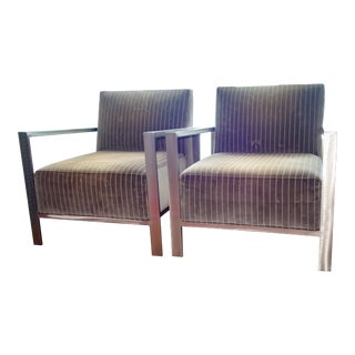 Modern Room & Board Zinc Mid-Century Arm Chairs - A Pair For Sale