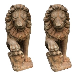 Antique Guard Lions - A Pair For Sale
