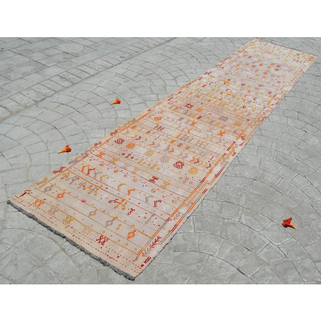 Antique Handmade Kilim Runner Rug Masterwork Cotton Jajim Hallway Decor - 2′9″ × 11′9″ For Sale - Image 4 of 12