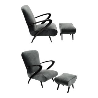 Paolo Buffa Armchairs With Footstools - Set of 4 For Sale