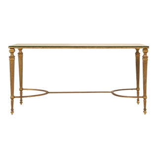 Vintage French 1940s Maison Jansen Gilt Bronze Coffee Table For Sale
