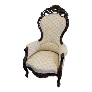 Victorian Pierce Carved Mahogany Gentleman's Chair For Sale