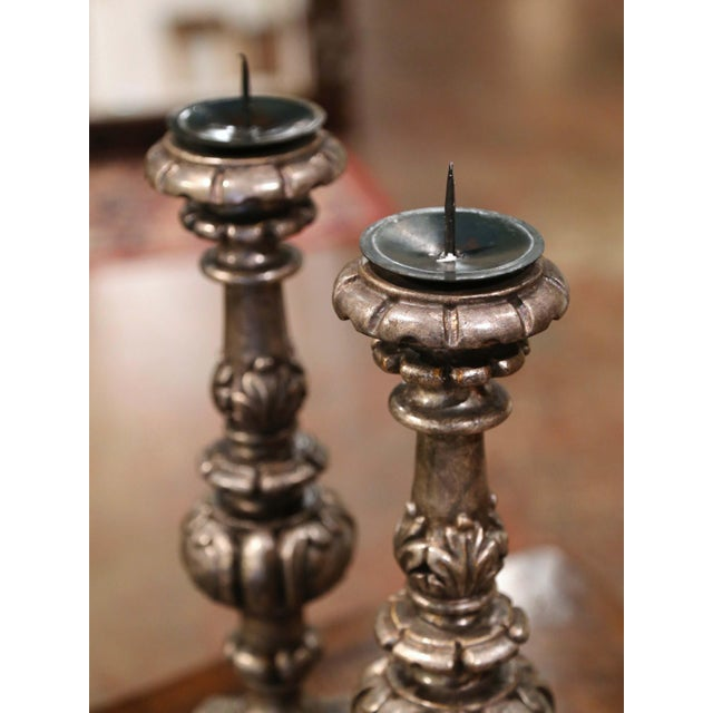 Mid 20th Century Mid-Century Italian Carved Silver Leaf Candlesticks Prickets - a Pair For Sale - Image 5 of 7