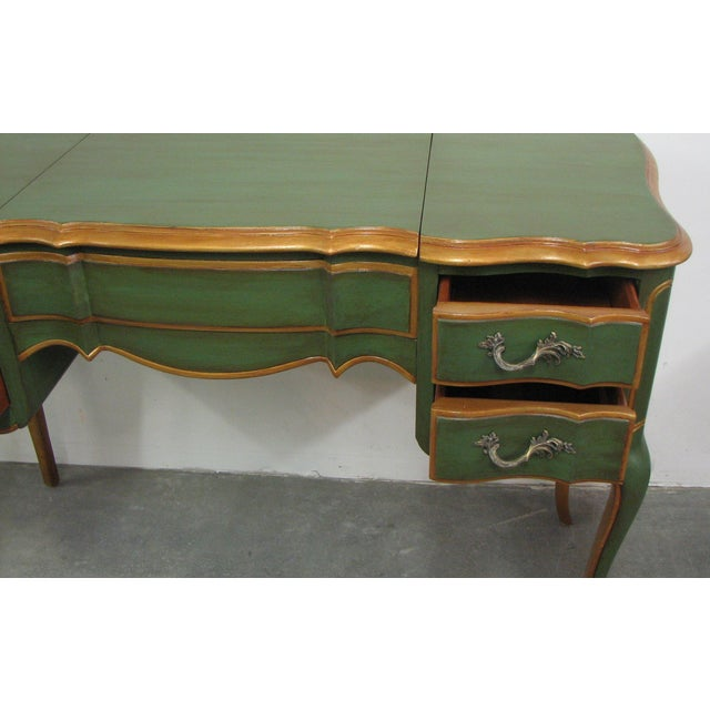 Metal Vintage French-Style Green & Gold Painted Writing Desk For Sale - Image 7 of 12