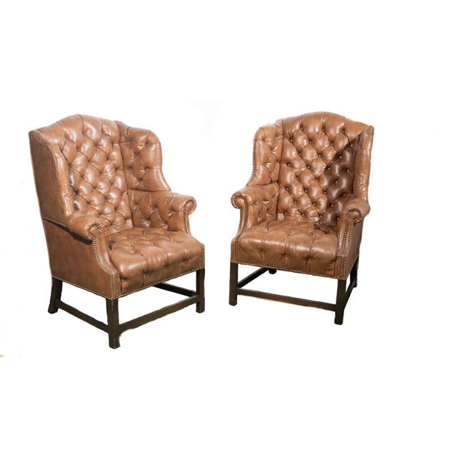 Leather Vintage Wingback Tufted Leather Chairs - a Pair For Sale - Image 7 of 7