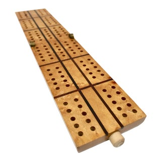 Vintage Birdseye Maple Folding Cribbage Board For Sale