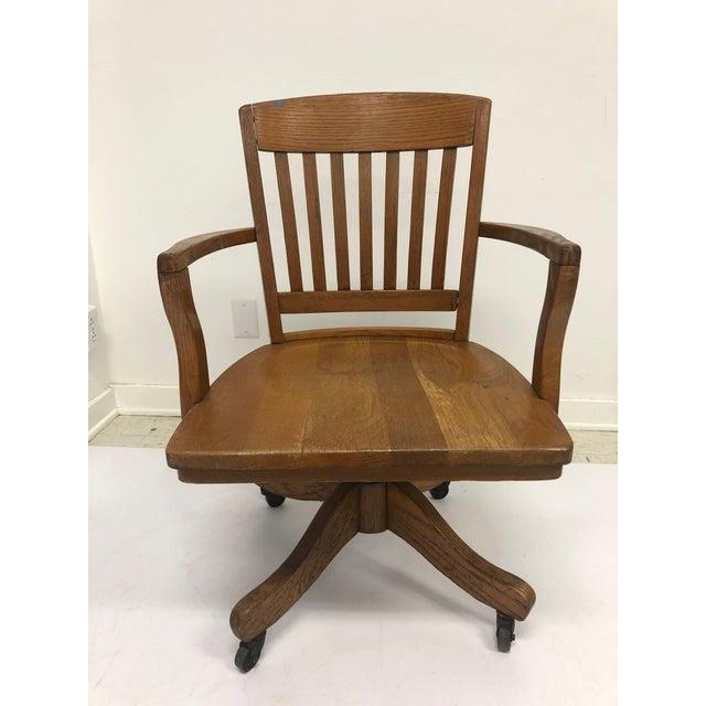 Vintage Industrial Wood Swivel Banker Chair For Sale - Image 13 of 13
